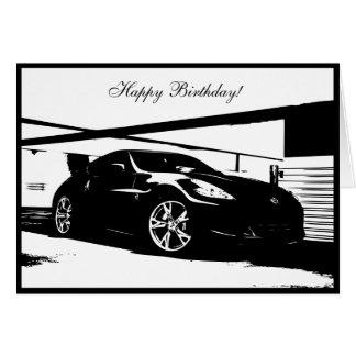 cartão de aniversário temático do carro 370Z