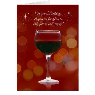 Cartão de aniversário temático do vinho engraçado