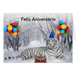 Cartão de Aniversário Tigre Branco