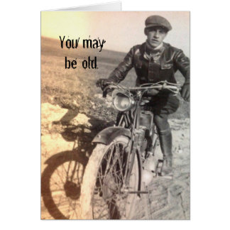 Cartão de aniversário velho mas bom da motocicleta