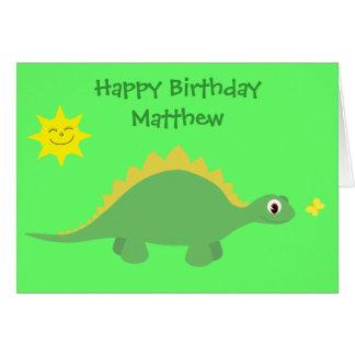 Cartão de aniversário verde & amarelo bonito do