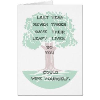 Cartão de aniversário verde da árvore de Snarky