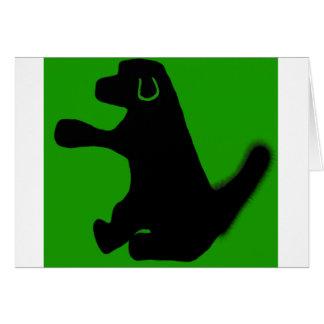 cartão de aniversário verde do cão