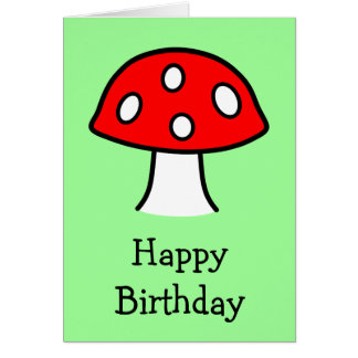 Cartão de aniversário vermelho do cogumelo