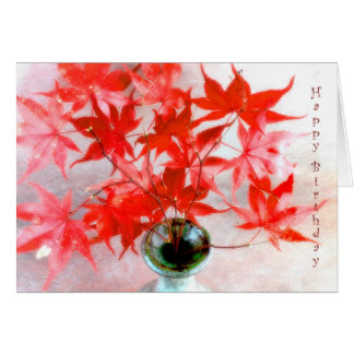 Cartão de aniversário vermelho do outono das