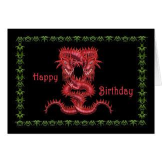Cartão de aniversário vermelho dobro do dragão