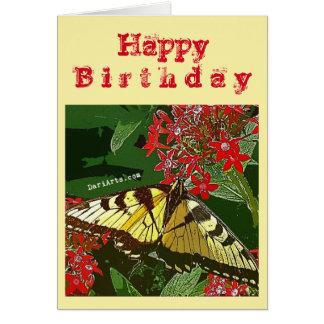 Cartão de aniversário vermelho w/greeting da flor
