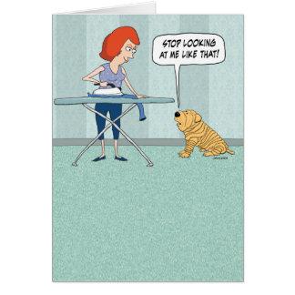 Cartão de aniversário Wrinkly engraçado do cão