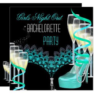 Cartão De Bachelorette das meninas da noite azul