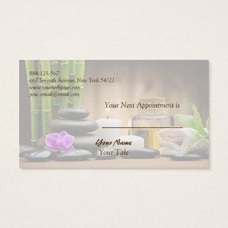 Cartão de bambu da nomeação da massagem dos termas
