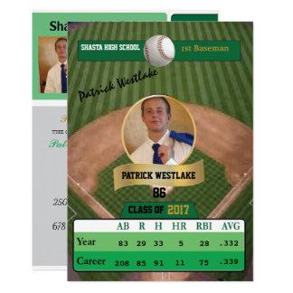 Cartão de basebol com convites do formando do