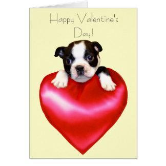 Cartão de Boston Terrier do feliz dia dos
