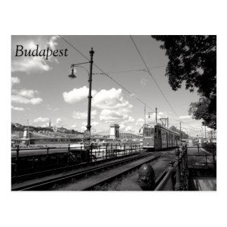 Cartão de Budapest. Bonde, ponte Chain e Danúbio