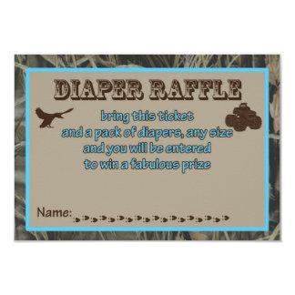 Cartão de caça azul do Raffle da fralda do chá de