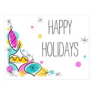 Cartão de canto dos feriados dos Baubles retros da