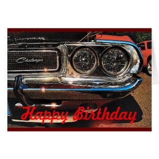 Cartão de carro do músculo do aniversário