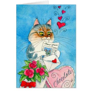 Cartão de carta de amor do gato