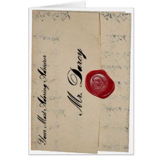 Cartão de carta de amor do Sr. Darcy
