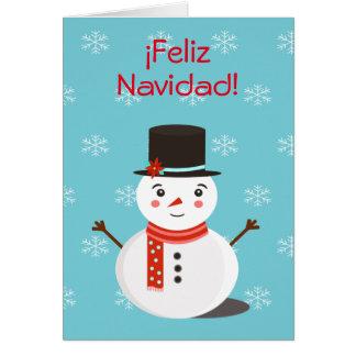 """Cartão De """"cartão Feliz Navidad"""" com boneco de neve"""