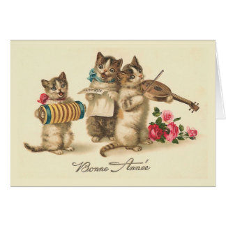 """Cartão De """"cartão francês do ano novo do vintage Bonne"""