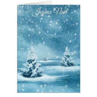 """Cartão De """"cartão nevado de Chrstmas das árvores Joyeux"""