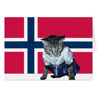 """Cartão De """"cartão norueguês do gato do dagen do MED"""