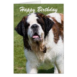 Cartão de cartões de aniversários feliz do cão de