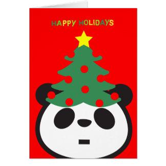 Cartão de cartões de natal - árvore da panda