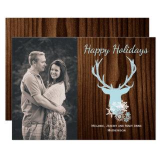 Cartão de cartões de natal azul rústico da cabeça