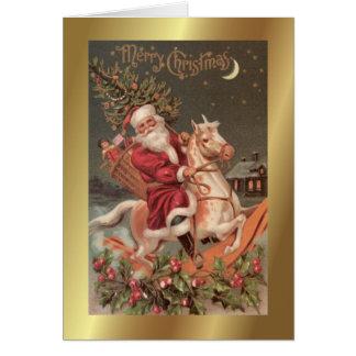 Cartão de cartões de natal da arte do vintage do