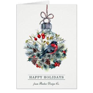Cartão de cartões de natal da bola de vidro do