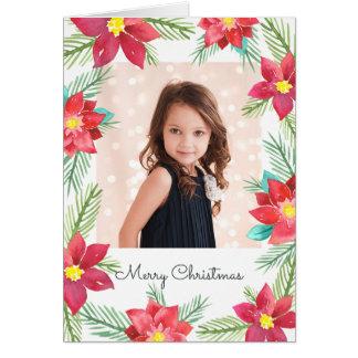 Cartão de cartões de natal da foto das poinsétias