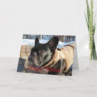 Cartão de cartões de natal do buldogue francês