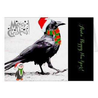 Cartão de cartões de natal do corvo do papai noel