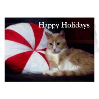Cartão de cartões de natal do gato do Peppermint