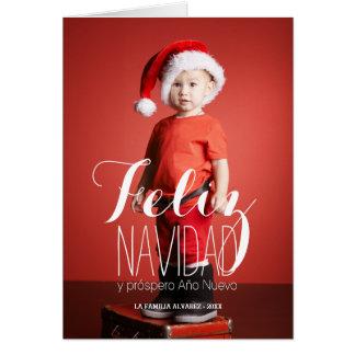 Cartão de cartões de natal espanhol de Feliz