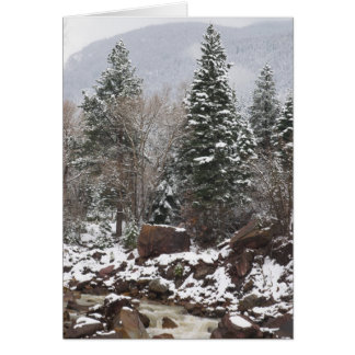 cartão de cartões de natal nevado do córrego