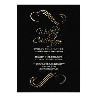 Cartão de casamento abstrato elegante do preto e