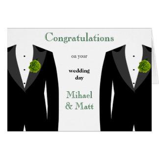 Cartão de casamento alegre do cravo verde para