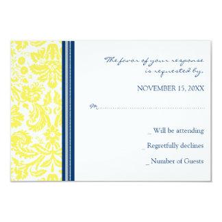 Cartão de casamento azul amarelo do damasco RSVP Convite 8.89 X 12.7cm