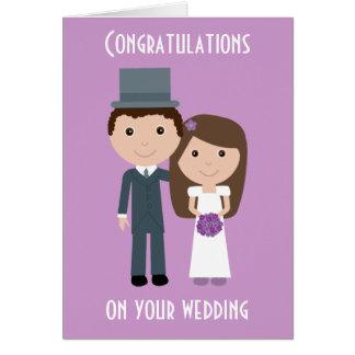 Cartão de casamento bonito da noiva & do noivo dos