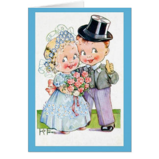 Cartão de casamento bonito, noiva alterada do
