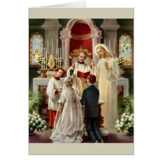 Cartão de casamento católico do vintage