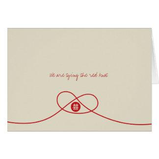 Cartão de casamento chinês da felicidade vermelha