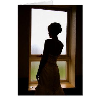 Cartão de casamento da silhueta da noiva, conselho