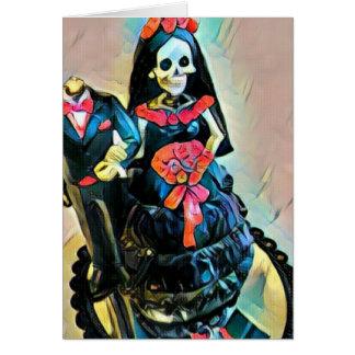 Cartão de casamento de esqueleto gótico do cadáver