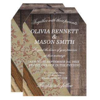 Cartão de casamento de madeira boémio