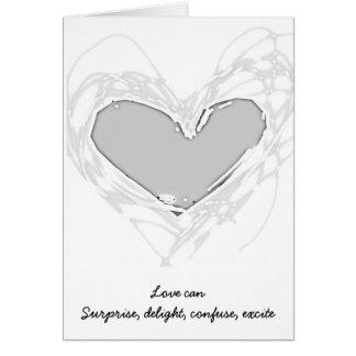 Cartão de casamento de prata do coração para