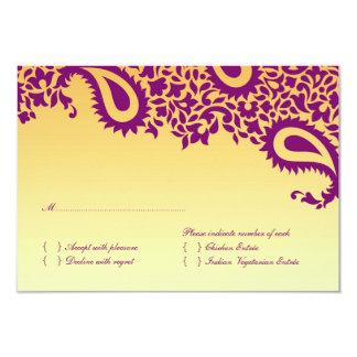 Cartão de casamento de RSVP com opção da comida