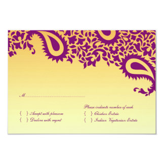 Cartão de casamento de RSVP com opção da comida Convite 8.89 X 12.7cm